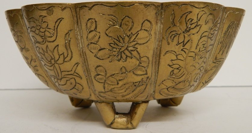 ANTIQUE CHINESE BRONZE ENGRAVED COMPOTE