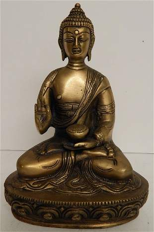 ANTIQUE BRONZE BUDDHA SCULPTURE