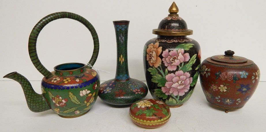 (5) ANTIQUE CHINESE CLOISONNE LOT