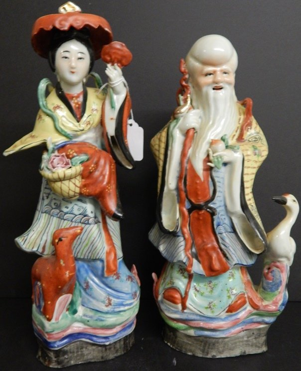 PAIR OF CHINESE PORCELAIN ELDER FIGURES