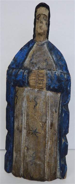 19TH CENTURY PAINTED WOOD ICON