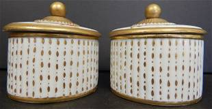 (2) ITALIAN PORCELAIN LIDDED POWDER CONTAINERS