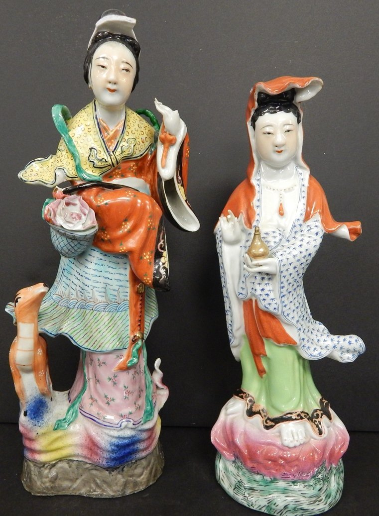 (2) FAMILLE ROSE CHINESE FIGURES