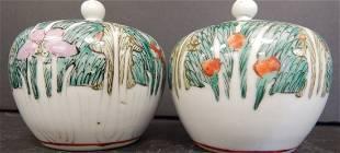 (2) CHINESE PORCELAIN LIDDED JARS