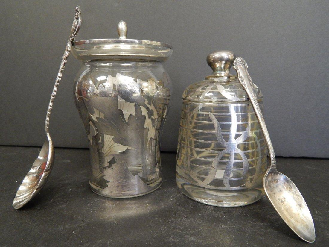 (2) SILVER & GLASS SUGAR BOWLS