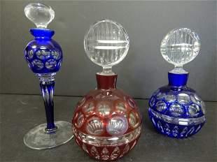 (3) BOHEMIAN GLASS PERFUME BOTTLES