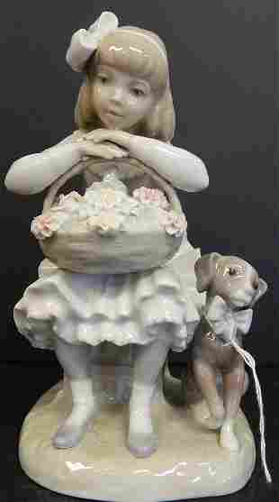 """LLADRO """"GIRL W/ DOG AND FLOWERS"""""""
