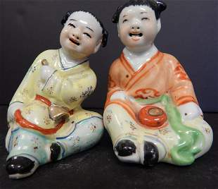 (2) FAMILLE ROSE CHINESE STATUES