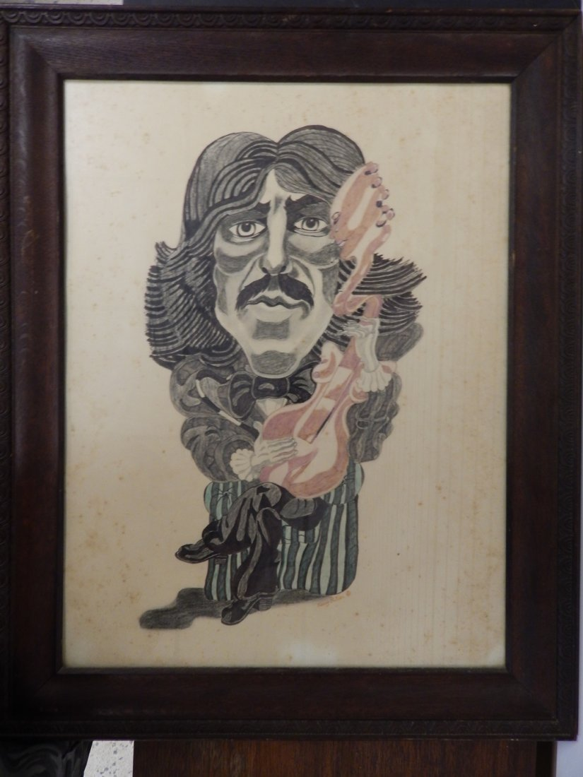 "VINTAGE GEORGE HARRISON DRAWING SIGNED ""JERRY BUTLER"""