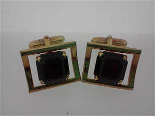 VINTAGE GOLD PLATED RUBY CUFF LINKS