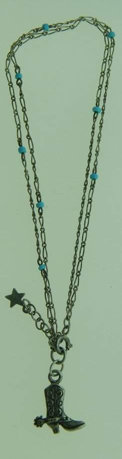 STERLING SILVER & TURQUOISE COWBOY BOOT ANKLET
