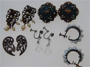 """VINTAGE \""""CLIP ON\"""" EARRING MISC LOT (5 PAIRS)"""