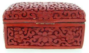 ANTIQUE CHINESE CINNABAR LIDDED BOX