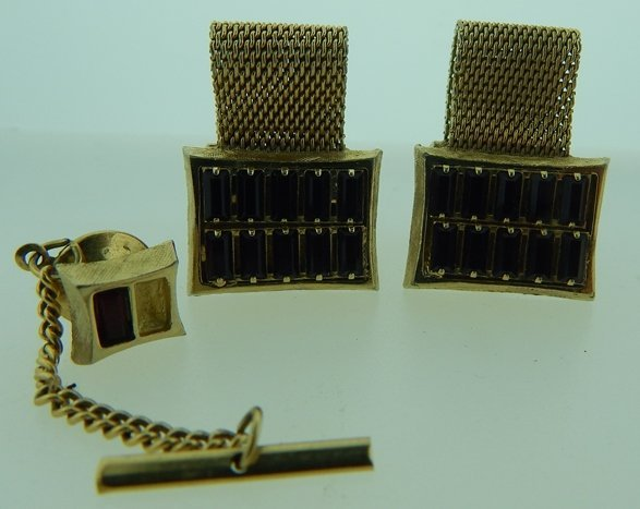 VINTAGE GOLD PLATED CUFF LINK & TIE PIN SET