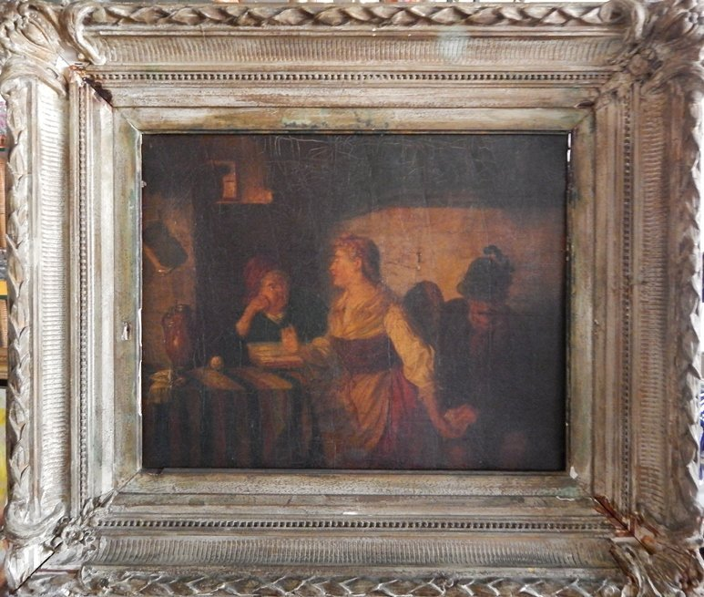 "MID 19TH.C ""OIL ON CANVAS"" W/ ORIGINAL WOOD FRAME"