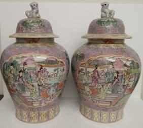 (2) LARGE ANTIQUE FAMILLE ROSE GINGER JARS