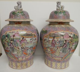(2) LARGE ANTIQUE FAMILLE ROSE GINGER JARS