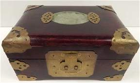 CHINESE CARVED WOOD JEWELRY BOX W JADE INSERT