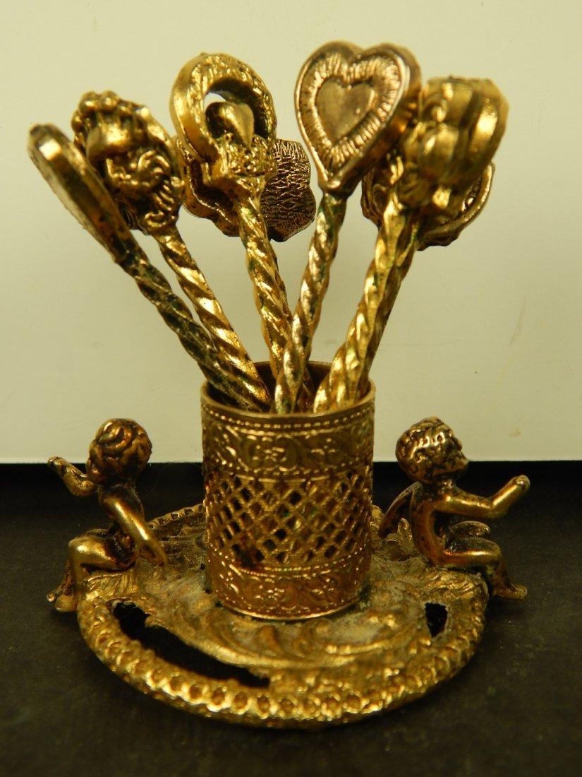 VINTAGE GOLD PLATED TOOTHPICKS & HOLDER