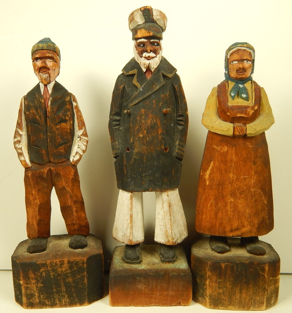 (3) VINTAGE  HAND CARVED NAUTICAL STATUES
