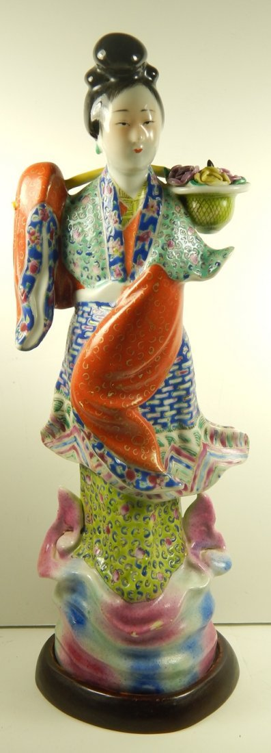ANTIQUE CHINESE FAMILLE ROSE MARKED PORCELAIN FIGURE