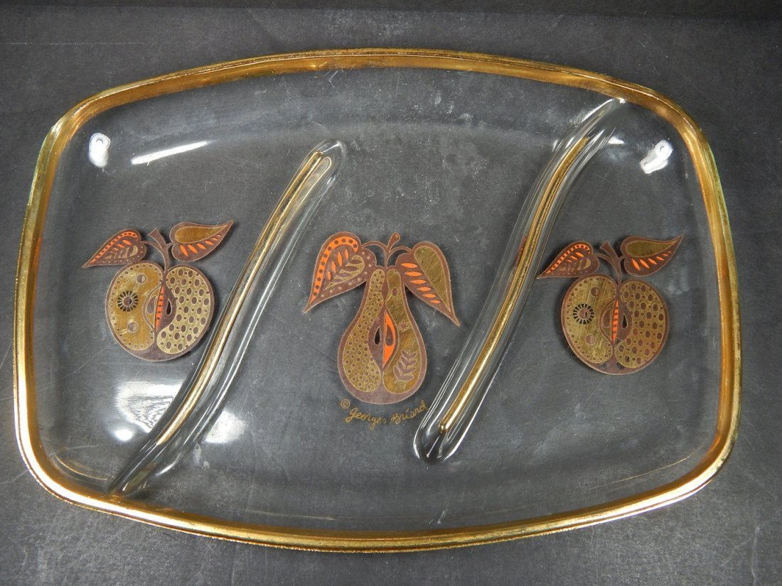 MID CENTURY GEORGE BRIARD GLASS SERVING TRAY