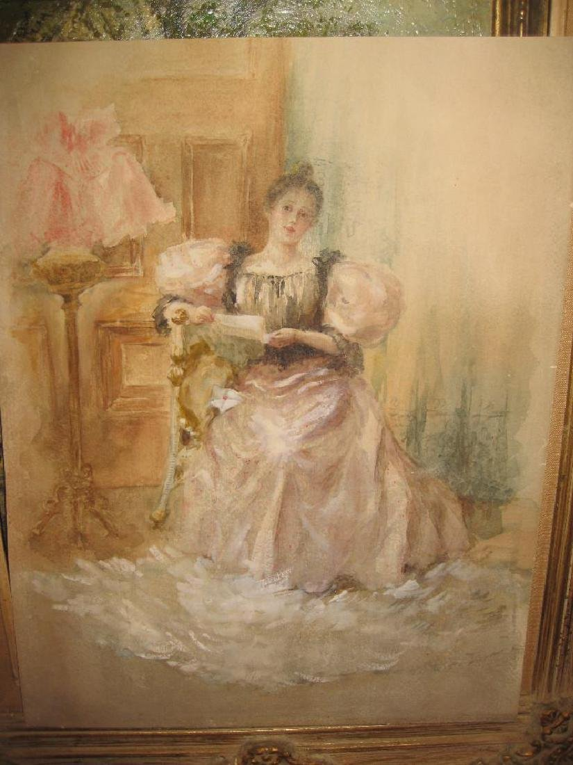 Graceful lady reading a letter, Watercolor, France, 19