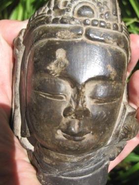 Chinese Bodhisattva carved stone head, 6th century AD.