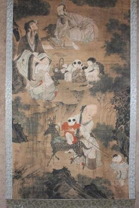 Qing/Ming Chinese scroll painting, 3 Dao Gods, by Wang