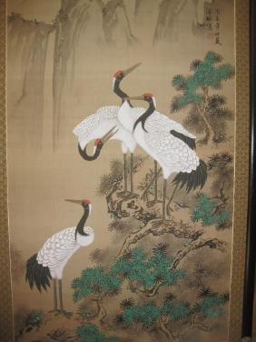 Chinese silk paintinting, framed 150 x 80cm