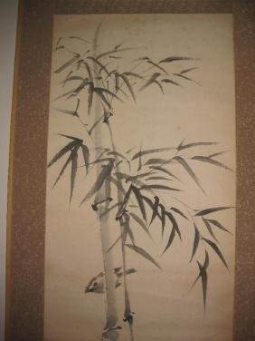 Japanese paper scroll Bamboo & sparrow