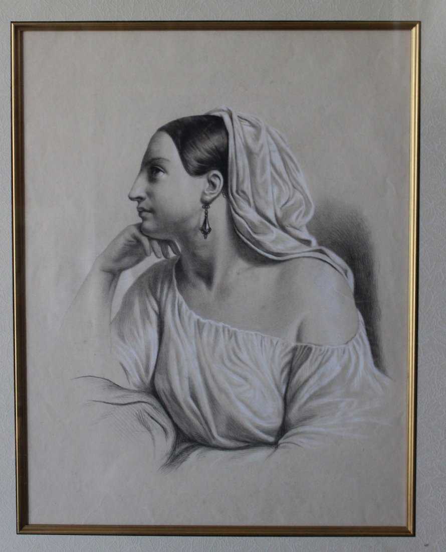 Antique academic style Italian/English drawing ca 1850