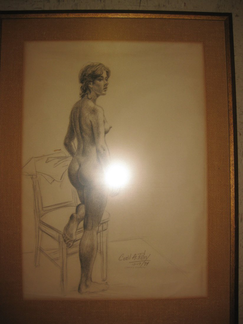 Nude drawing, signed by Cecil Riley, UK, 1974