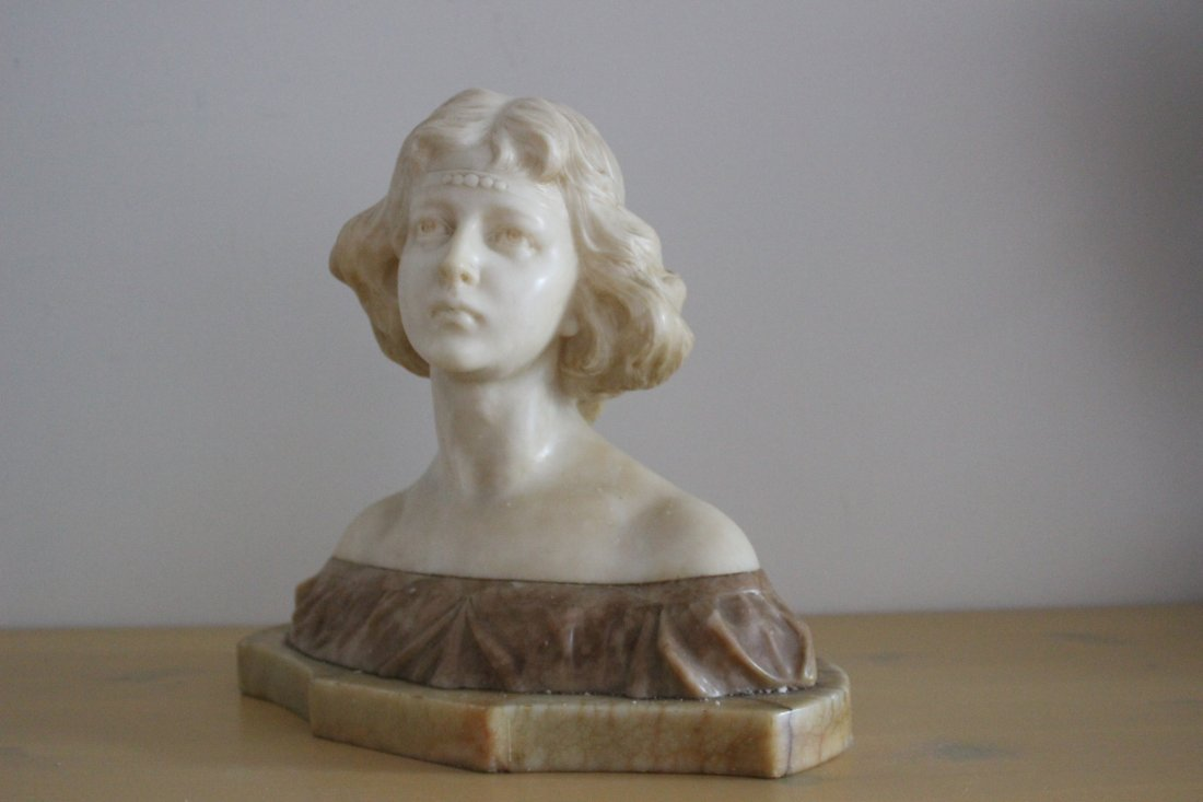 Marble/Alabaster young lady sculpture , Italian Broggy