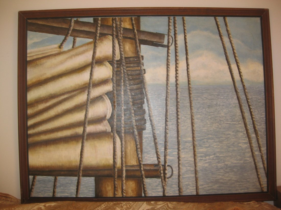 "Ocean view from sailing boat"", oil on canvas"