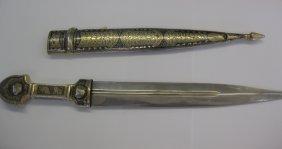 Russian Nielloed silver Caucasian 36 cm- dagger & scabb