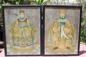 Chinese pair of antique portraits of Emperor & Empress