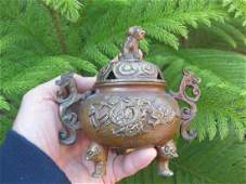 Chinese gilded bronze incense burner,- Kangxi mark