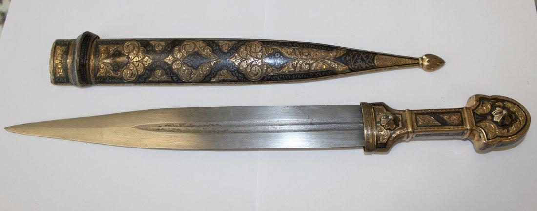 Russian Nielloed silver Caucasian 40 cm- dagger & scabb