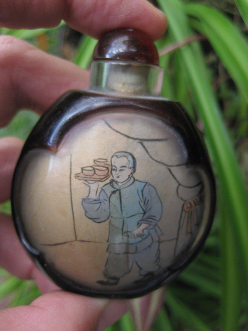 Chinese antique snuff black bottle: Waiter & cashier
