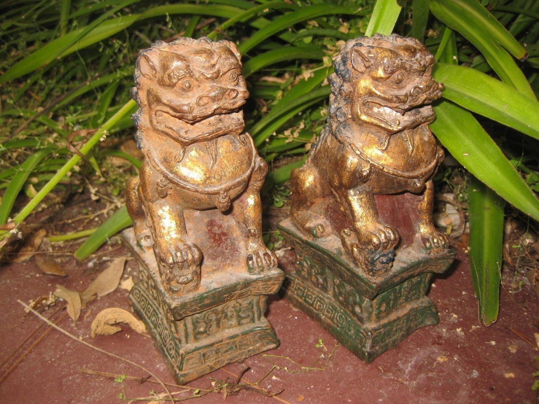 Chinese gilded Bronze pair of Foo Dogs, Ming/Qing dyn?
