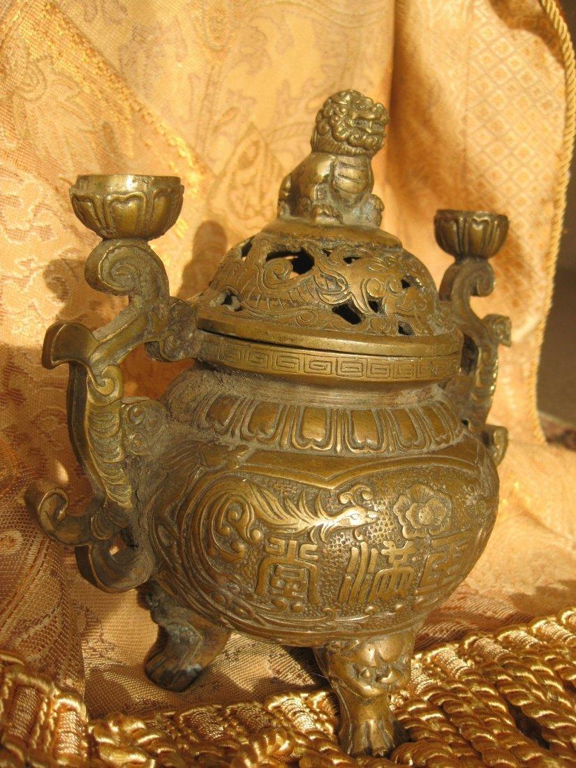 Ming Dynasty Bronze/Copper Lion Incense Burner w lion