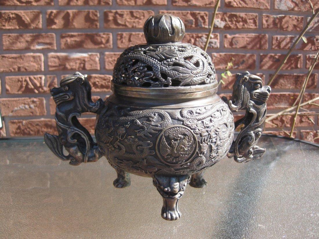 White Bronze Ming Dynasty Bronze Incense Burner, 4