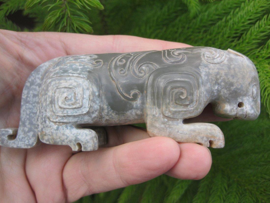 Chinese small grey jade tiger, Western Zhou (1122-771BC