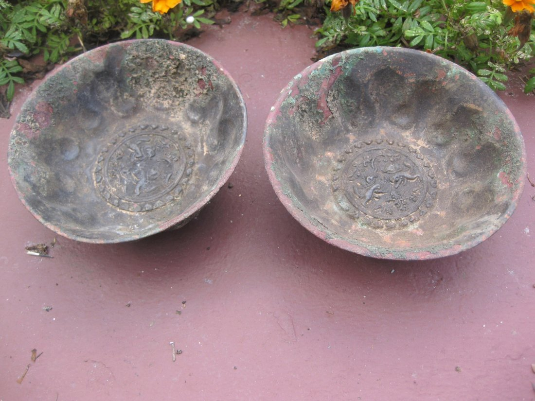 Chinese Antique Bronze Bowl Pair, Tang Dynasty
