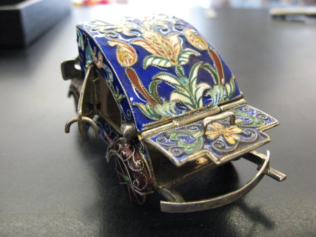 Russian Imperial Silver decorative enameled car model,