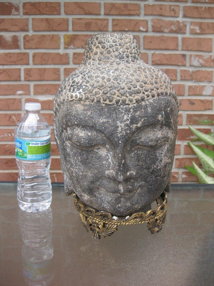 Carved stone Buddha Head, 18kg, Qing dynasty or earlier - 2