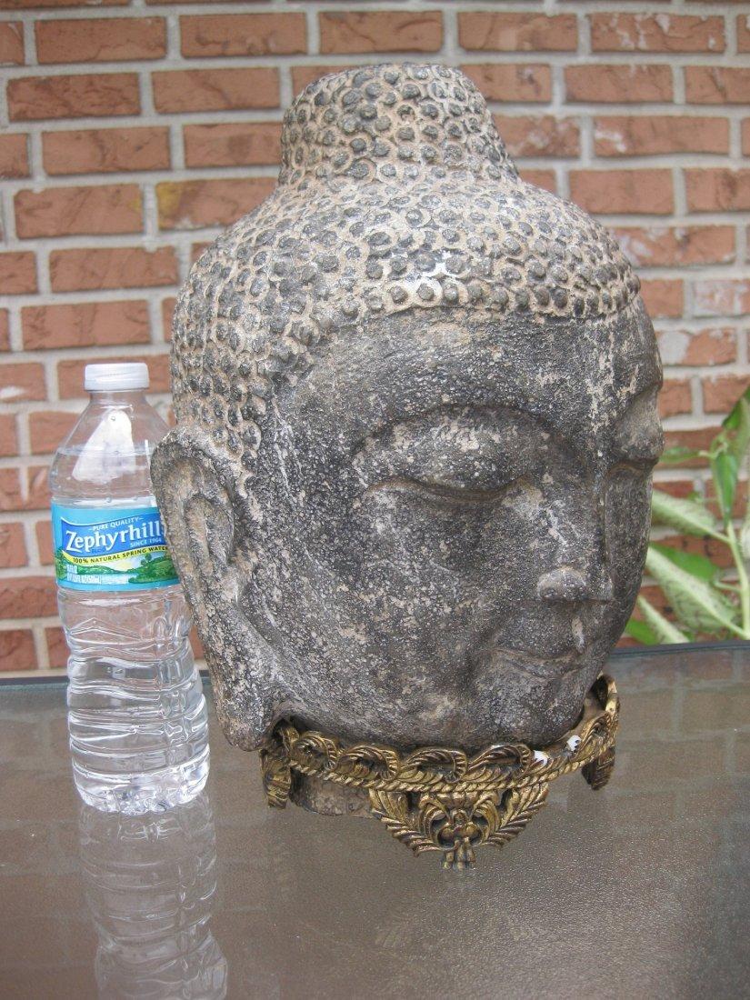 Carved stone Buddha Head, 18kg, Qing dynasty or earlier - 3