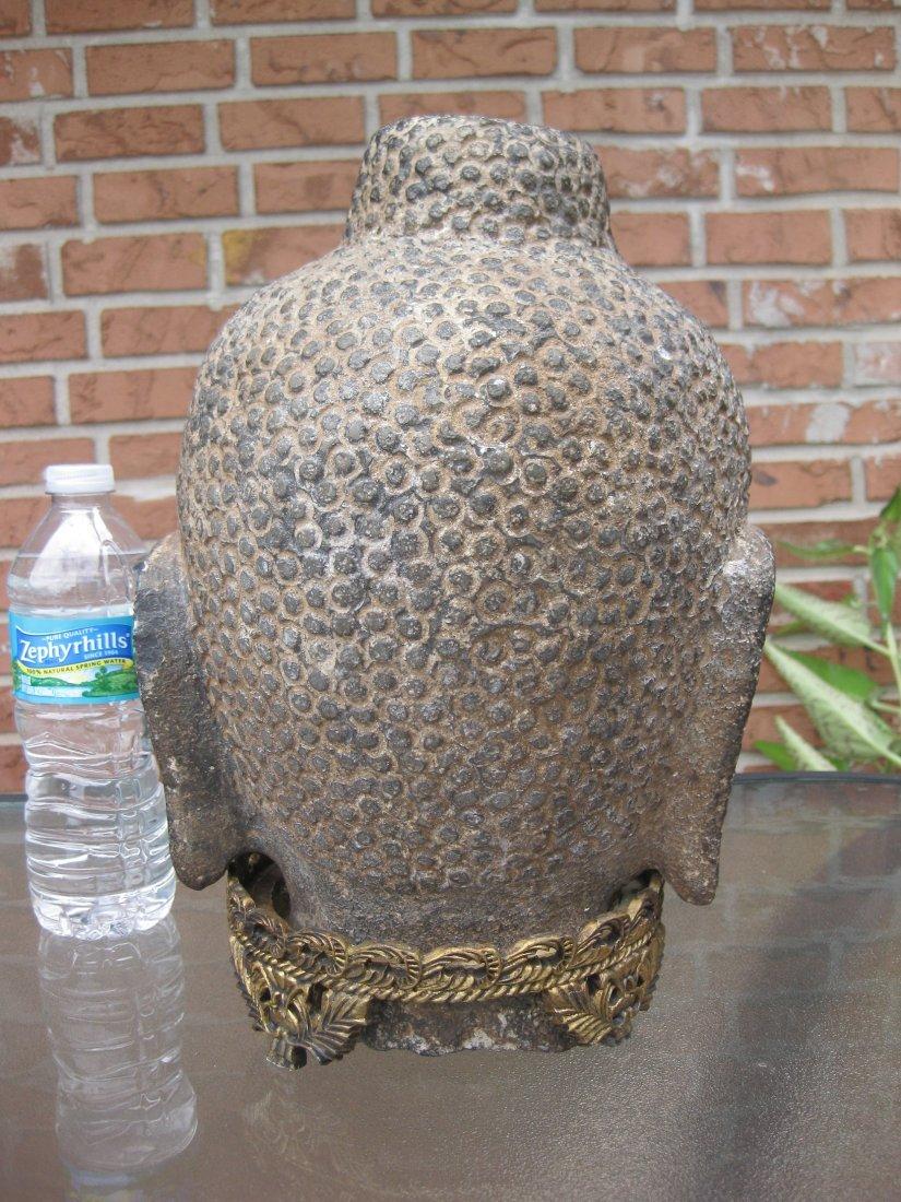 Carved stone Buddha Head, 18kg, Qing dynasty or earlier - 5
