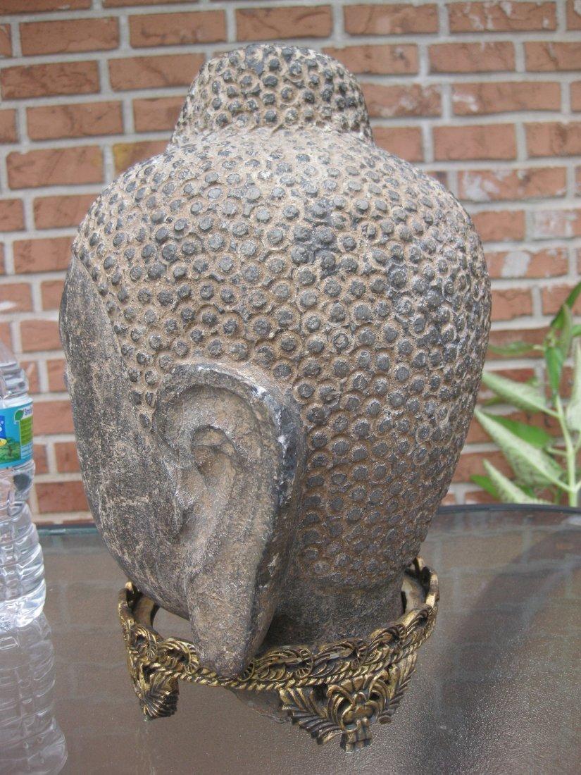 Carved stone Buddha Head, 18kg, Qing dynasty or earlier - 6